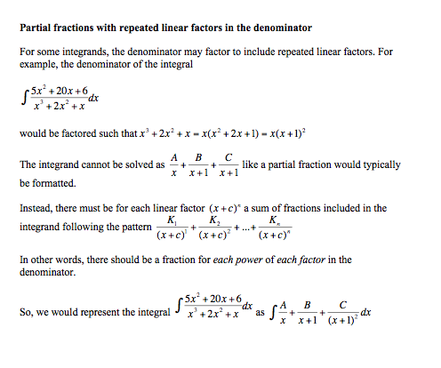 cochranmath  integration by partial fractions an integrand might not decompose into two constant numerators for each  fraction a problem with a quadratic numerator may decompose into two  fractions of a
